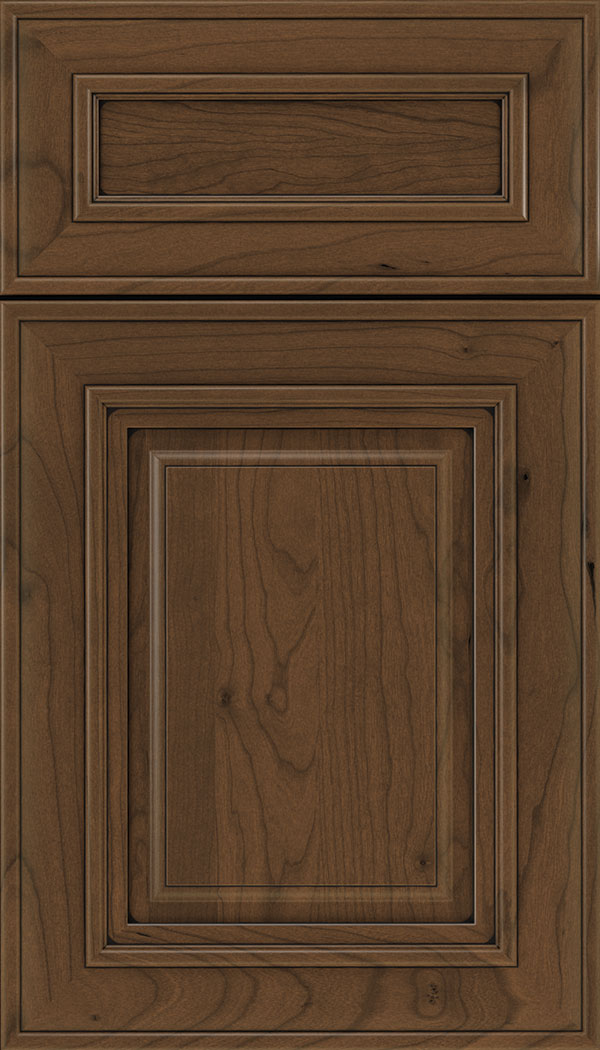 Regency 5pc Cherry raised panel cabinet door in Sienna with Black glaze