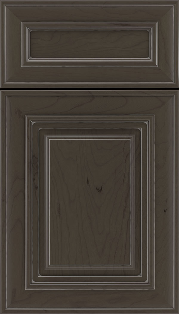 Regency 5pc Cherry raised panel cabinet door in Thunder with Pewter glaze