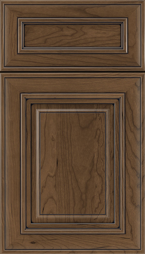 Regency 5pc Cherry raised panel cabinet door in Toffee with Black glaze