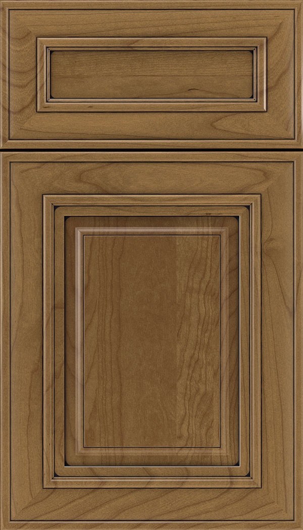 Regency 5pc Cherry raised panel cabinet door in Tuscan with Black glaze