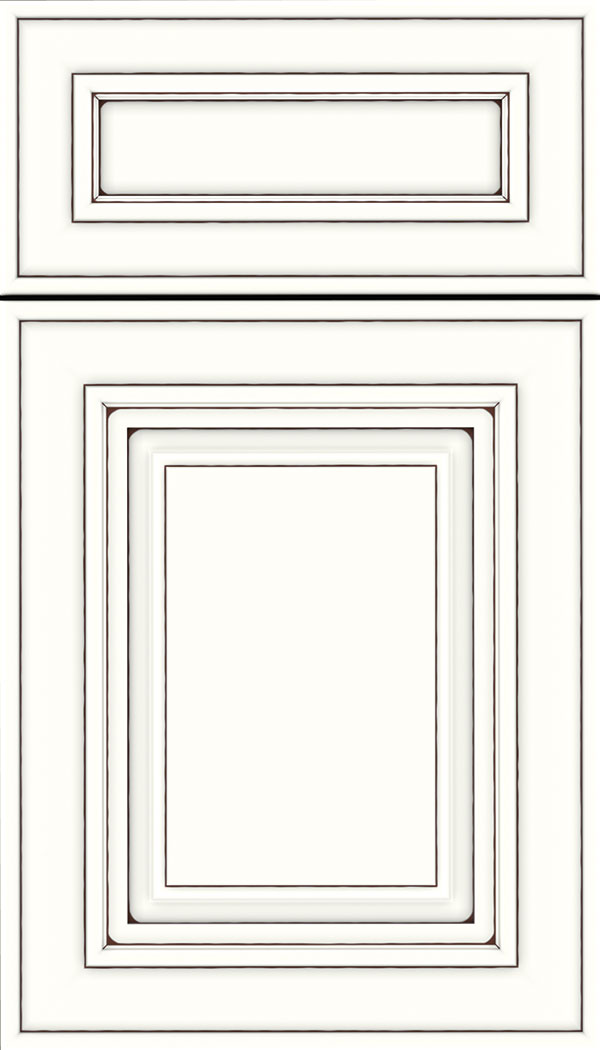 Regency 5pc Maple raised panel cabinet door in Alabaster with Mocha glaze