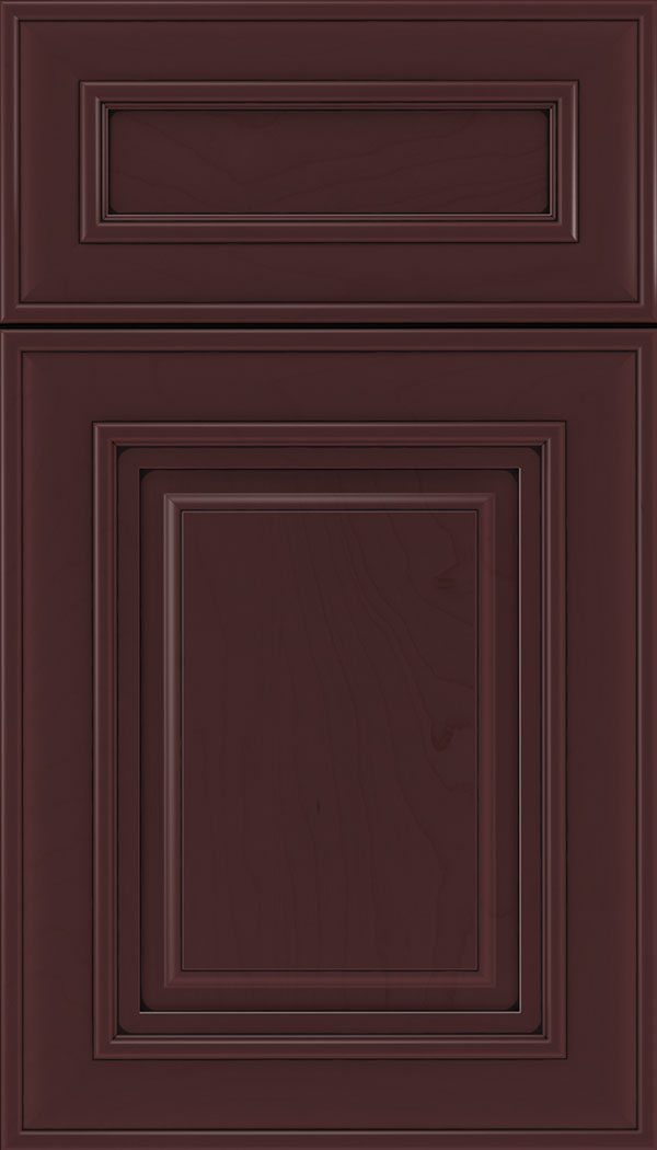 Regency 5pc Maple raised panel cabinet door in Bordeaux with Black glaze