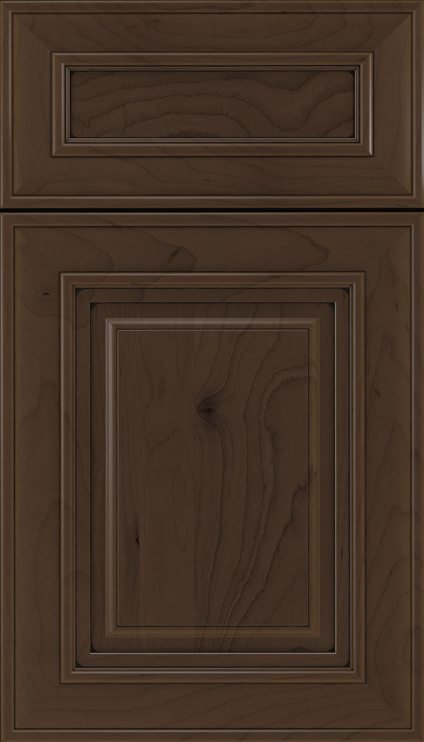 Regency 5pc Maple raised panel cabinet door in Cappuccino with Black glaze