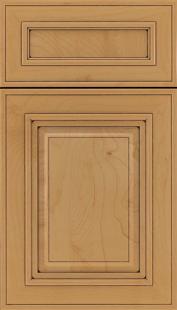 Regency 5pc Maple raised panel cabinet door in Ginger with Black glaze