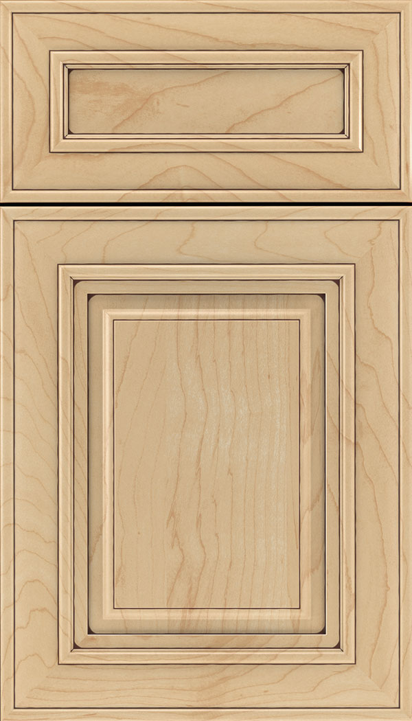 Regency 5pc Maple raised panel cabinet door in Natural with Mocha glaze