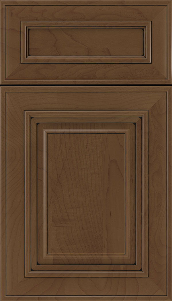 Regency 5pc Maple raised panel cabinet door in Sienna with Black glaze