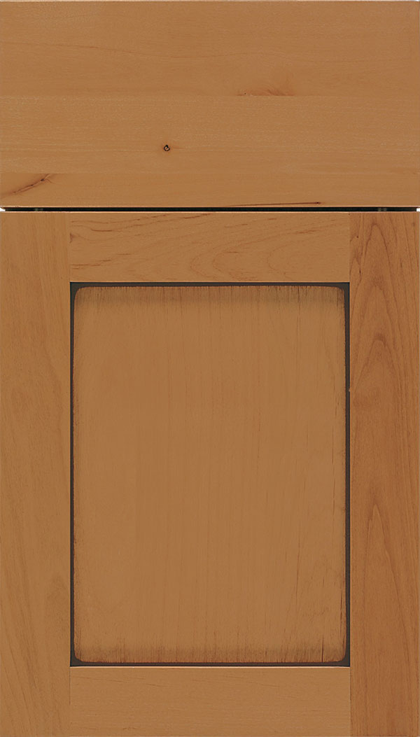 Salem Alder shaker cabinet door in Ginger with Mocha glaze