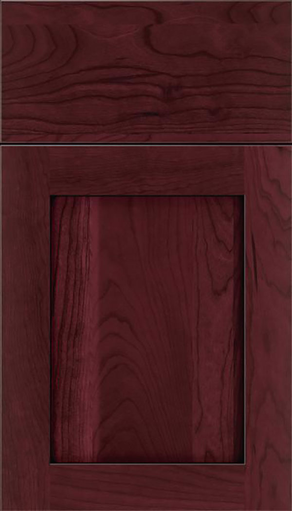 Salem Cherry shaker cabinet door in Bordeaux with Black glaze