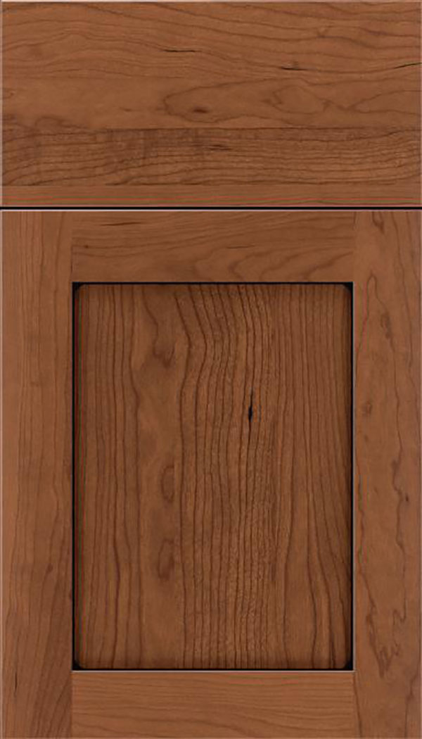 Salem Cherry shaker cabinet door in Nutmeg with Black glaze