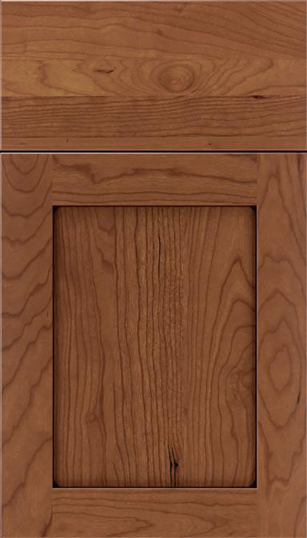 Salem Cherry shaker cabinet door in Nutmeg with Mocha glaze