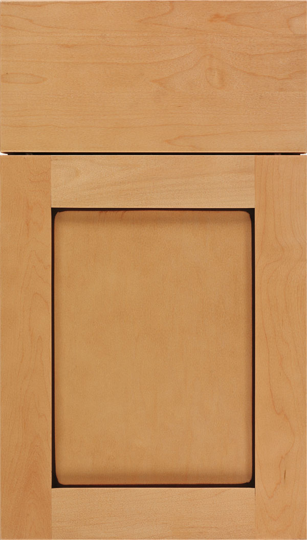 Salem Maple shaker cabinet door in Ginger with Mocha glaze