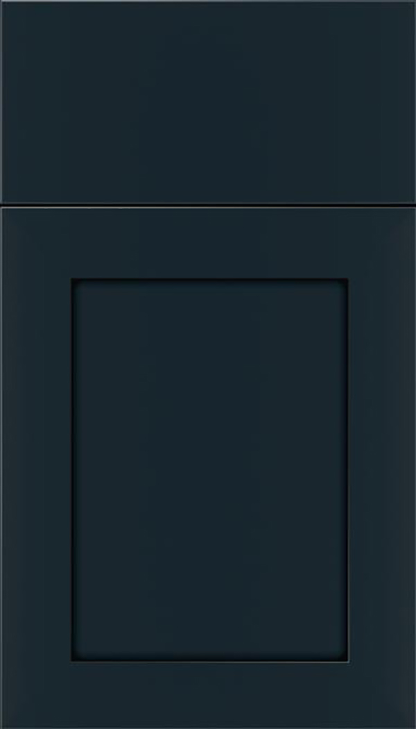 Salem Maple shaker cabinet door in Gunmetal Blue with Black glaze