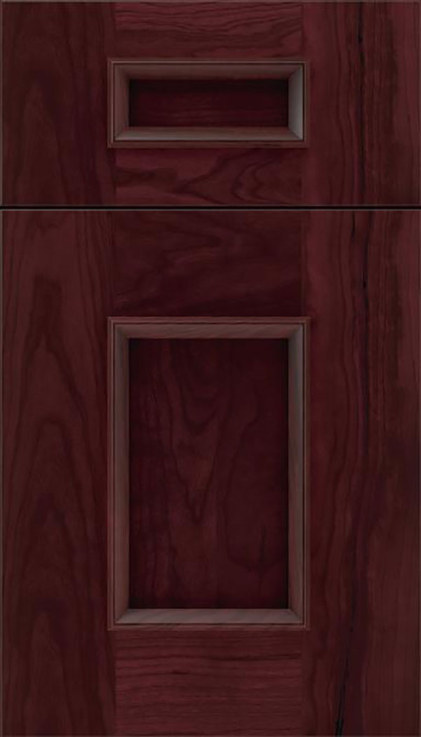 Sapri 5pc Cherry recessed panel cabinet door in Bordeaux