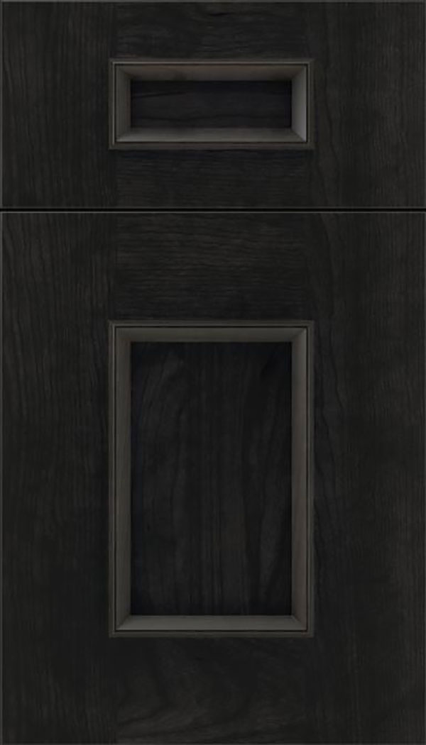 Sapri 5pc Cherry recessed panel cabinet door in Charcoal