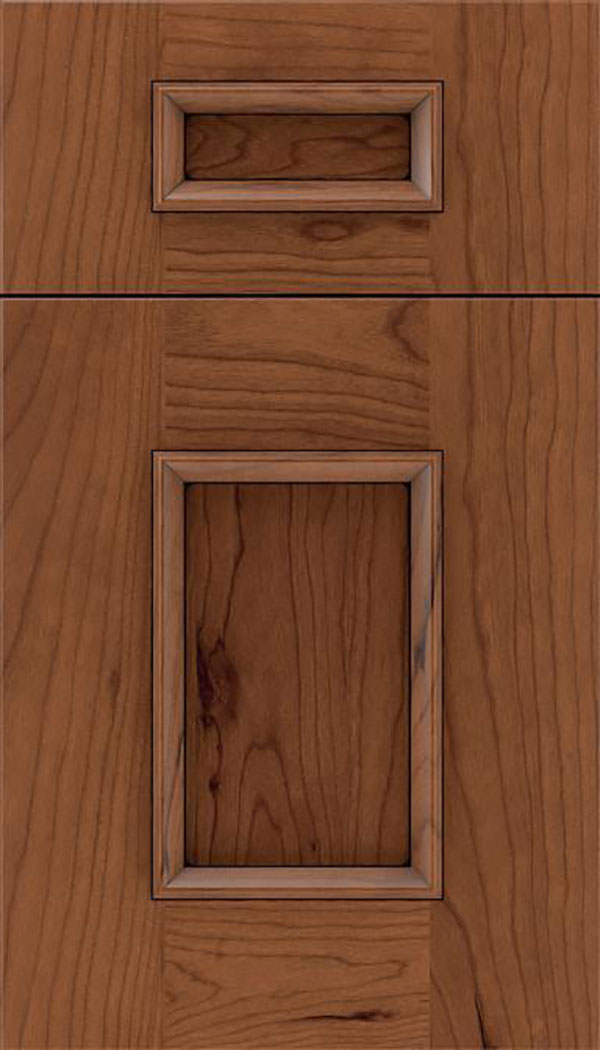 Sapri 5pc Cherry recessed panel cabinet door in Nutmeg with Black glaze
