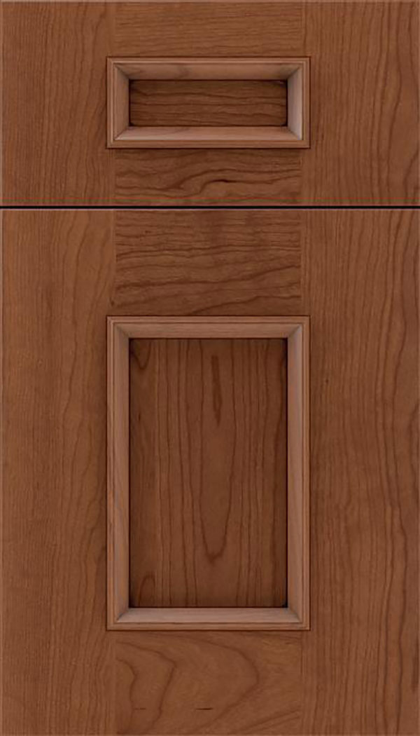 Sapri 5pc Cherry recessed panel cabinet door in Nutmeg with Mocha glaze