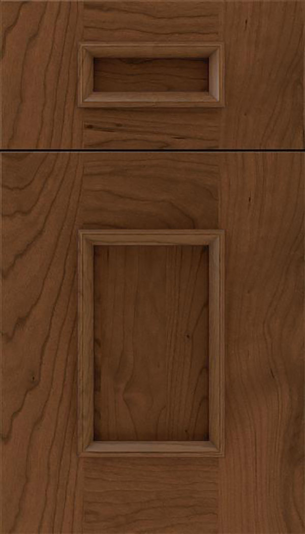 Sapri 5pc Cherry recessed panel cabinet door in Sienna with Mocha glaze