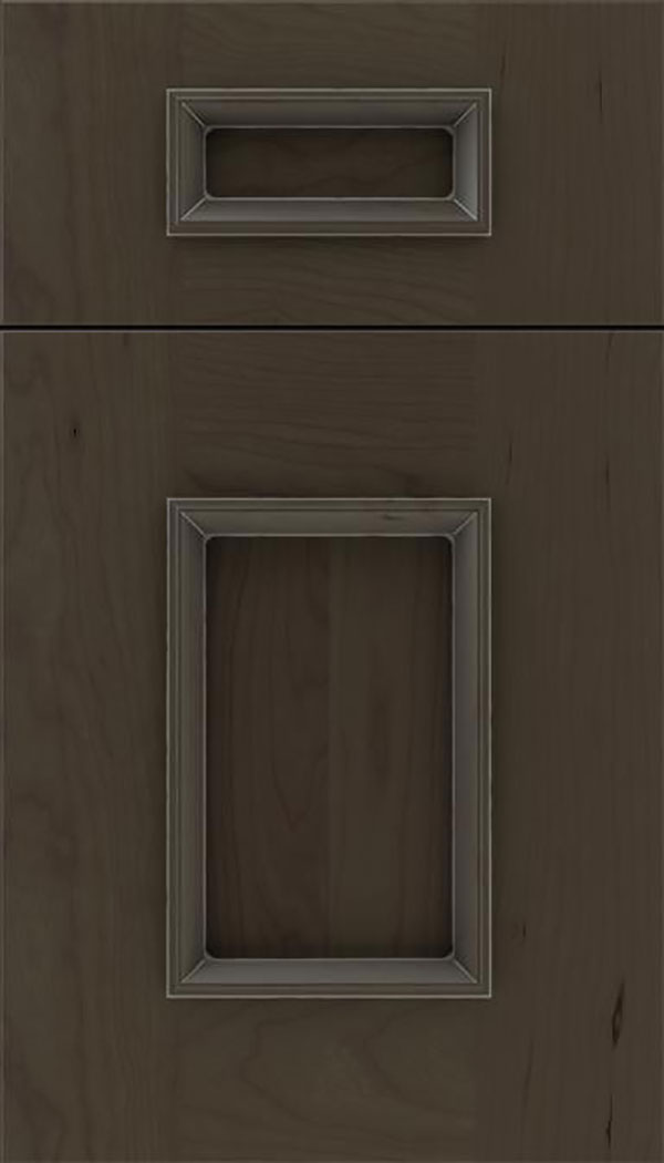 Sapri 5pc Cherry recessed panel cabinet door in Thunder with Pewter glaze