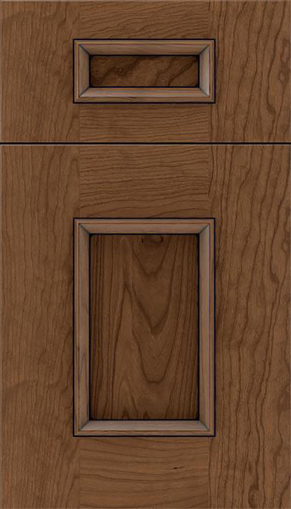 Sapri 5pc Cherry recessed panel cabinet door in Toffee with Black glaze