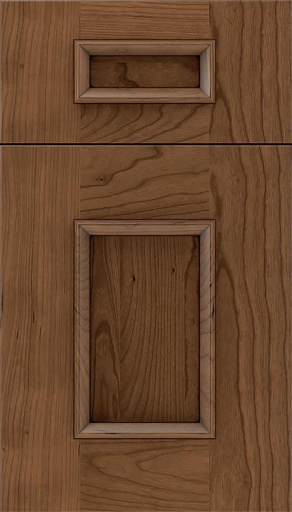 Sapri 5pc Cherry recessed panel cabinet door in Toffee with Mocha glaze