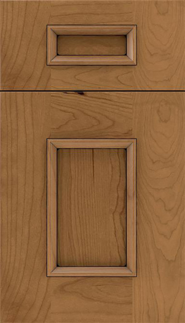 Sapri 5pc Cherry recessed panel cabinet door in Tuscan with Black glaze