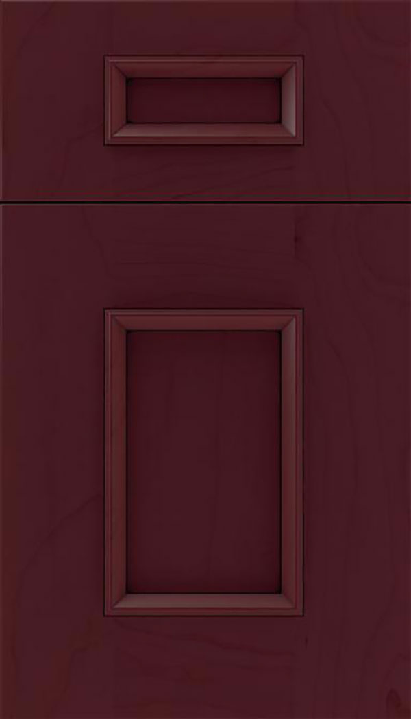 Sapri 5pc Maple recessed panel cabinet door in Bordeaux with Black glaze