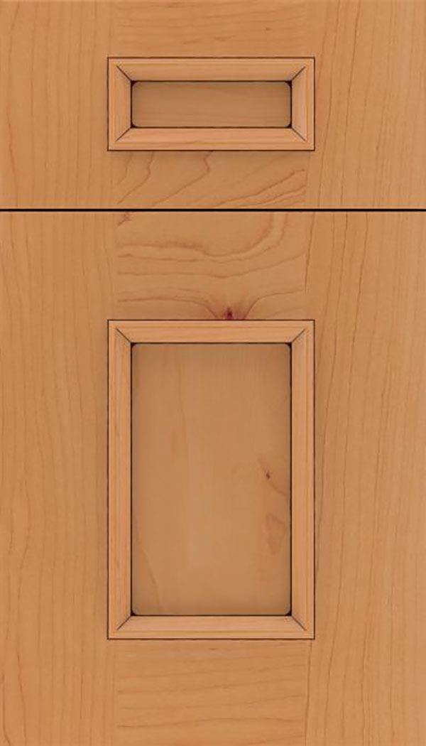 Sapri 5pc Maple recessed panel cabinet door in Ginger with Black glaze