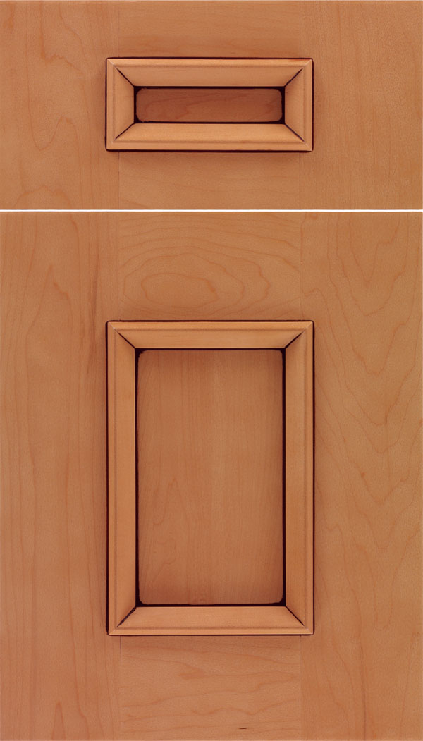 Sapri 5pc Maple recessed panel cabinet door in Ginger with Mocha glaze