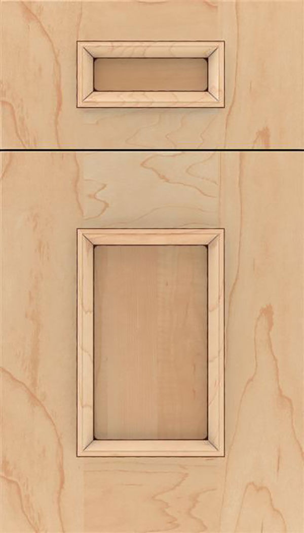 Sapri 5pc Maple recessed panel cabinet door in Natural with Mocha glaze