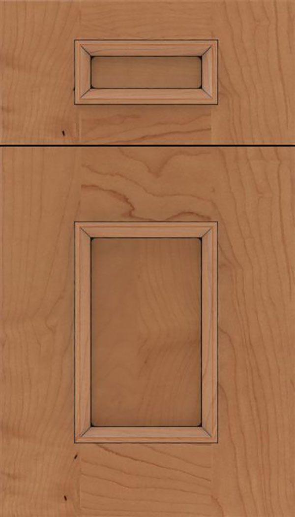 Sapri 5pc Maple recessed panel cabinet door in Nutmeg with Black glaze