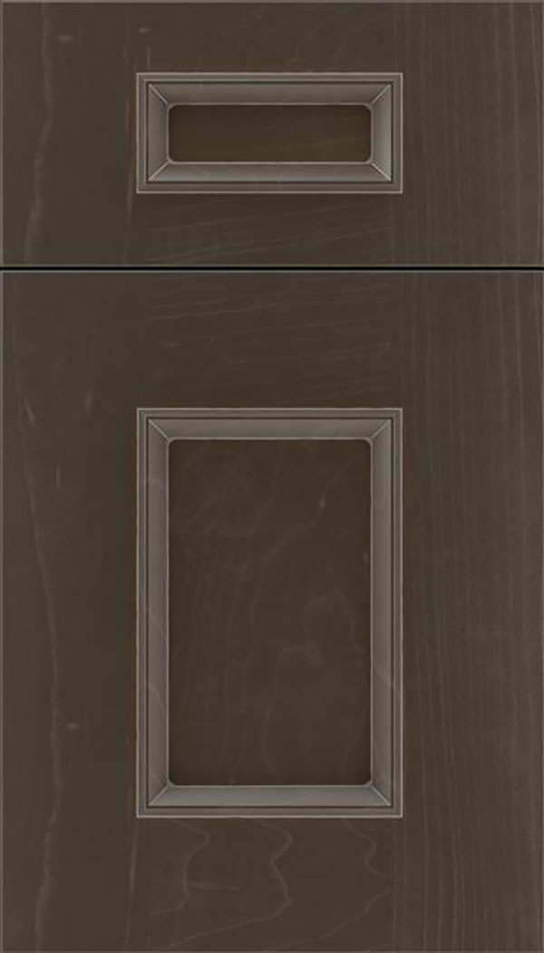 Sapri 5pc Maple recessed panel cabinet door in Thunder with Pewter glaze