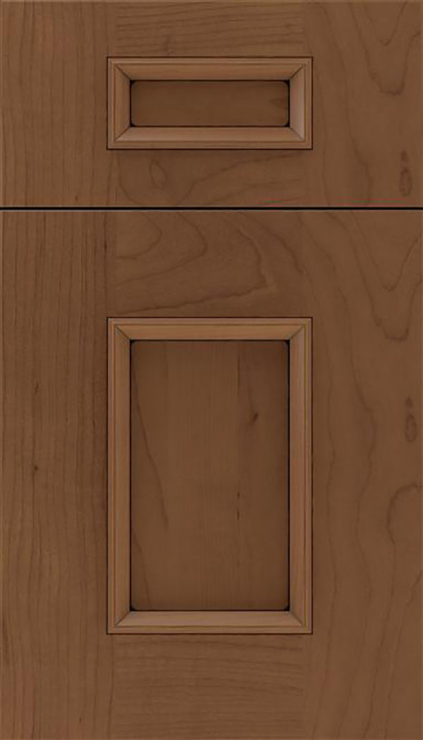 Sapri 5pc Maple recessed panel cabinet door in Toffee with Black glaze