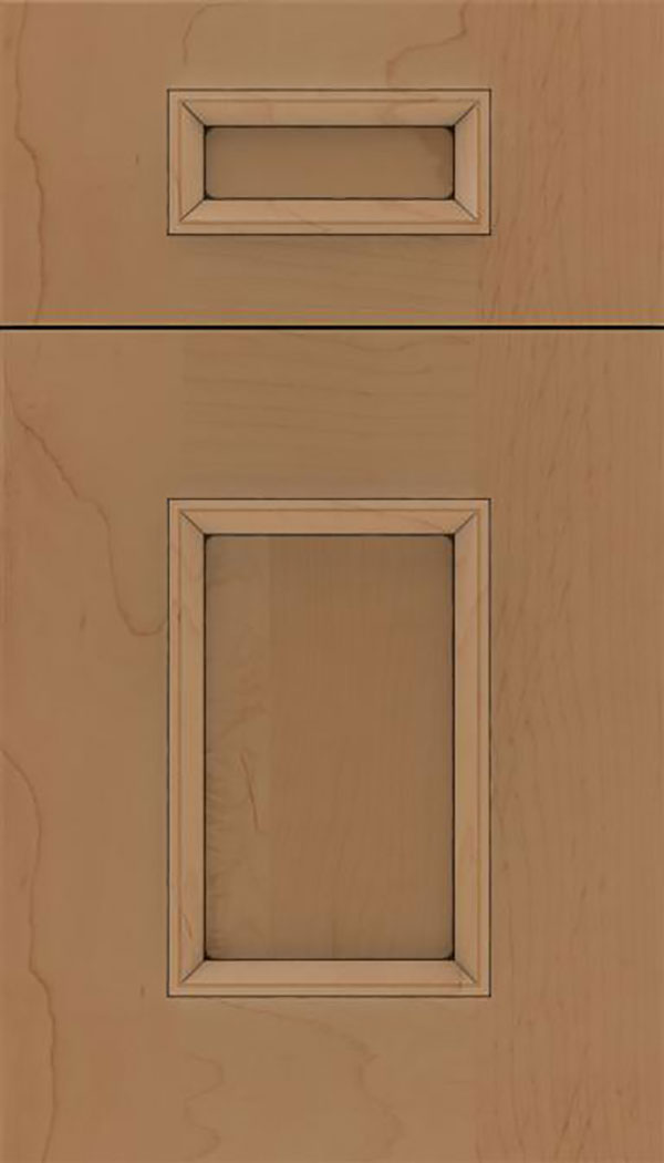 Sapri 5pc Maple recessed panel cabinet door in Tuscan with Black glaze
