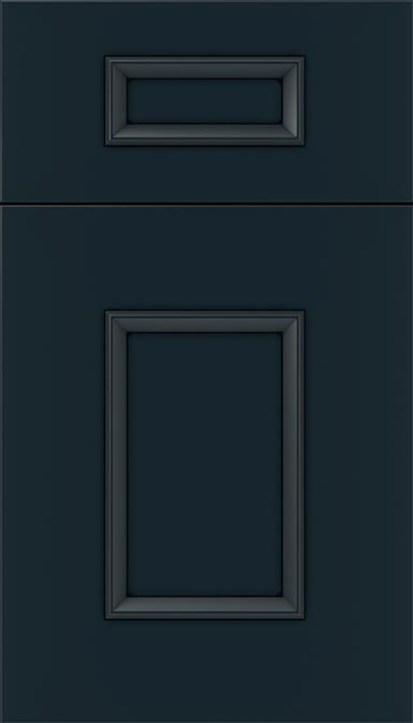 Sapri 5pc Maple recessed panel cabinet door in Gunmetal Blue with Black glaze