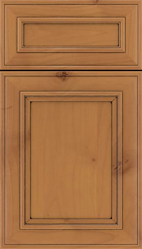 Sheffield 5pc Alder recessed panel cabinet door in Ginger with Black glaze