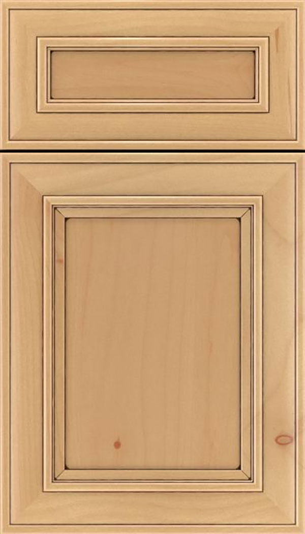 Sheffield 5pc Alder recessed panel cabinet door in Natural with Mocha glaze