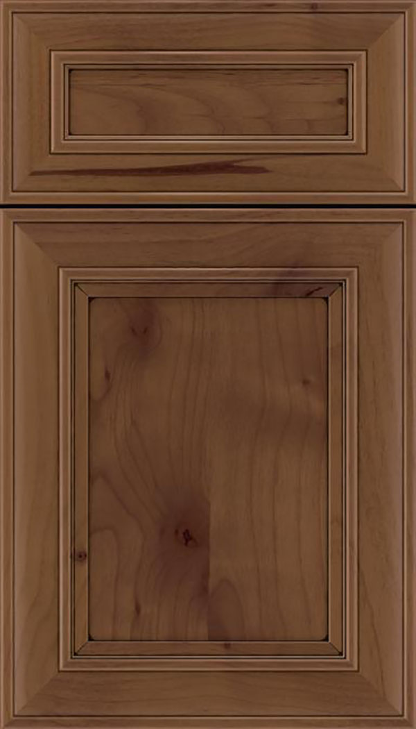 Sheffield 5pc Alder recessed panel cabinet door in Sienna with Black glaze