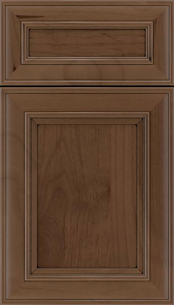 Sheffield 5pc Alder recessed panel cabinet door in Toffee with Black glaze
