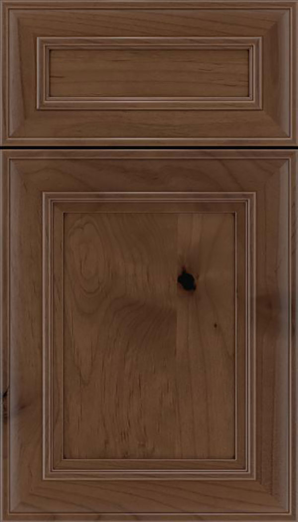 Sheffield 5pc Alder recessed panel cabinet door in Toffee with Mocha glaze