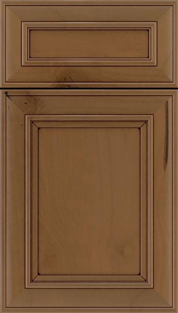 Sheffield 5pc Alder recessed panel cabinet door in Tuscan with Mocha glaze