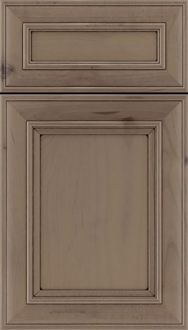 Sheffield 5pc Alder recessed panel cabinet door in Winter with Black glaze