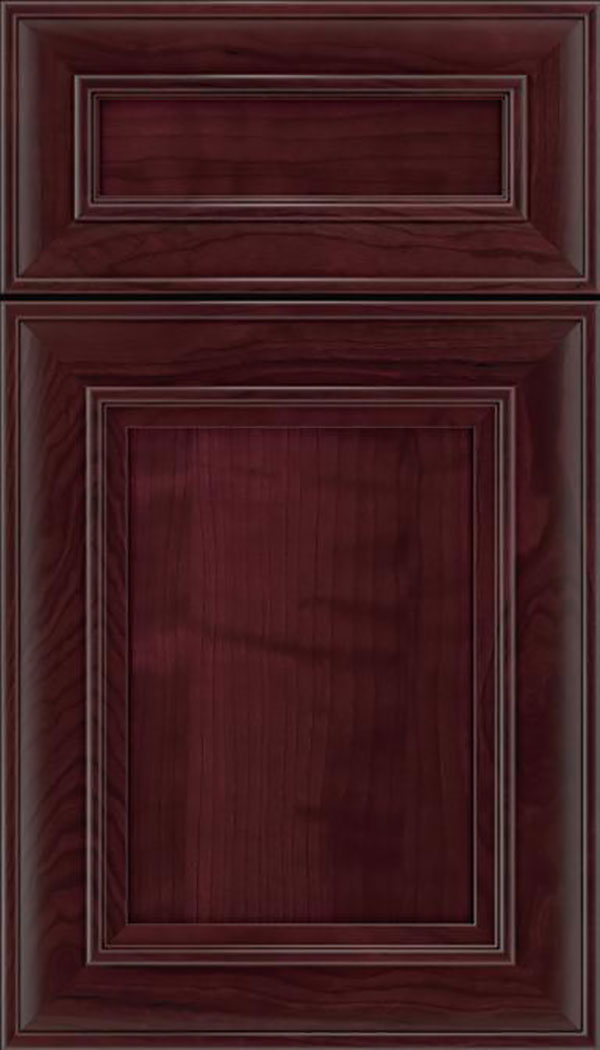 Sheffield 5pc Cherry recessed panel cabinet door in Bordeaux