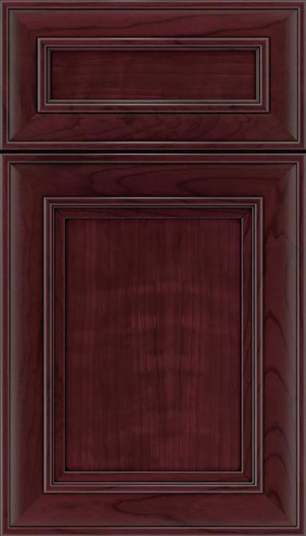 Sheffield 5pc Cherry recessed panel cabinet door in Bordeaux with Black glaze
