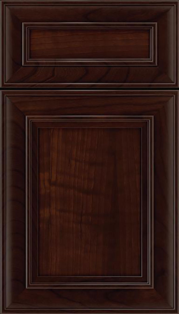 Sheffield 5pc Cherry recessed panel cabinet door in Cappuccino