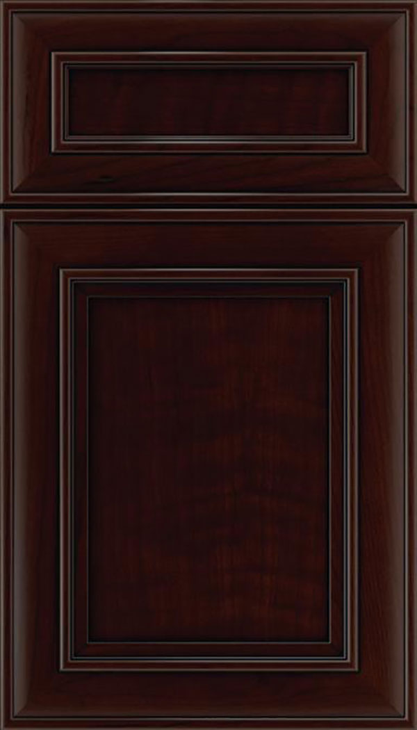 Sheffield 5pc Cherry recessed panel cabinet door in Cappuccino with Black glaze