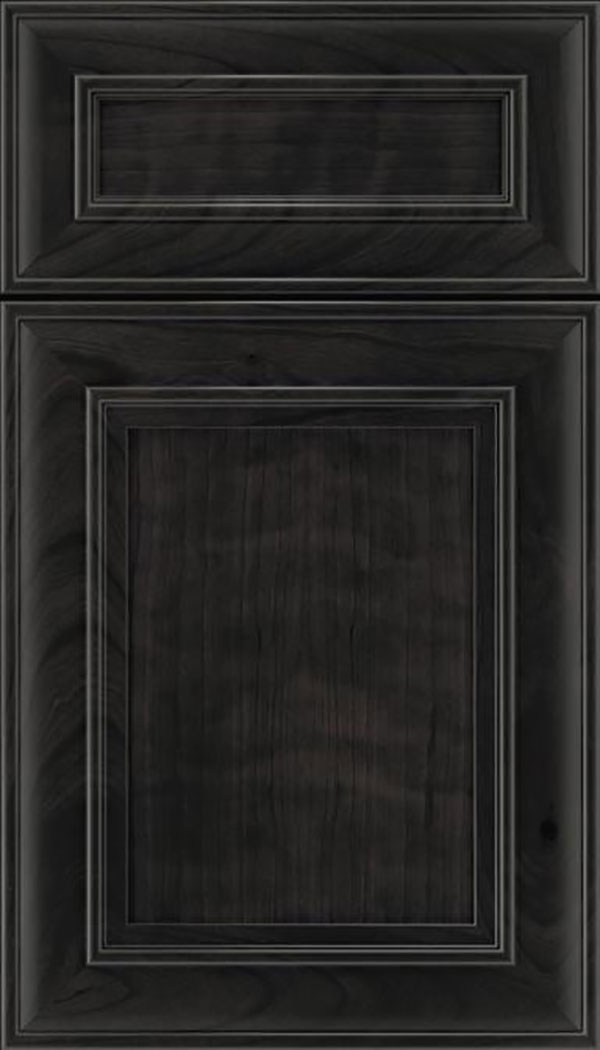 Sheffield 5pc Cherry recessed panel cabinet door in Charcoal