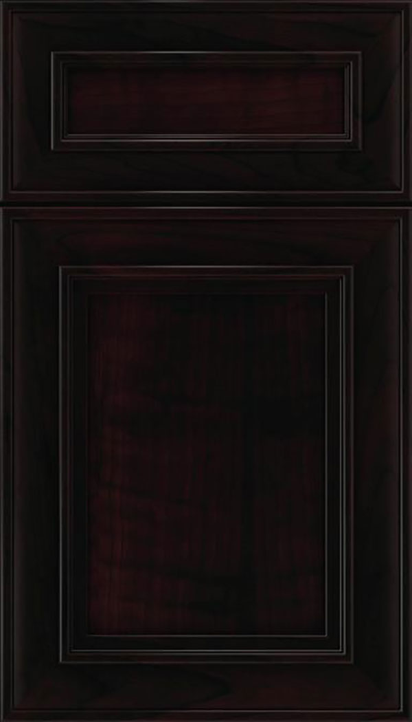 Sheffield 5pc Cherry recessed panel cabinet door in Espresso