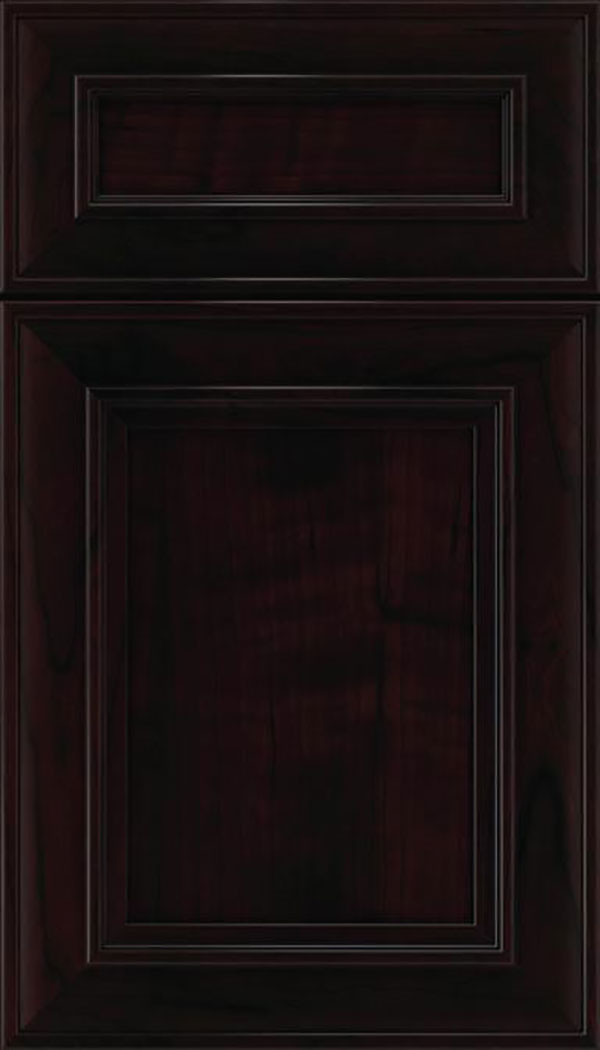 Sheffield 5pc Cherry recessed panel cabinet door in Espresso with Black glaze