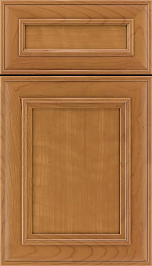 Sheffield 5pc Cherry recessed panel cabinet door in Ginger