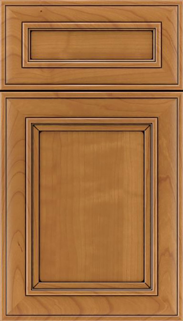 Sheffield 5pc Cherry recessed panel cabinet door in Ginger with Black glaze